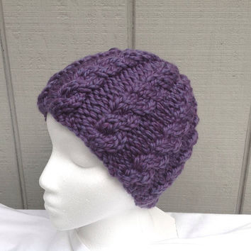 Womens purple beanie - Chunky wool beanie  - Cable knit hat - Teens wool hat