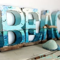 Coastal Decoration Free Standing Nautical  Letters BEACH Hand Painted Coastal Fine Art