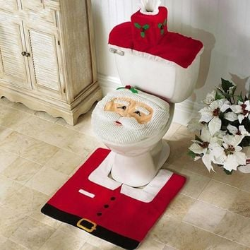 Santa Claus Rug Toilet Seat Cover Bathroom Set Merry Christmas Decorations for Home New Year Navidad Decoration 171122