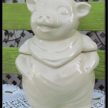 1940s vintage cookie jar Pig kitchen cottage antique