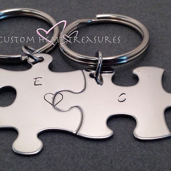 Initials Keychains, Couples Keychains, Connecting Heart Keychains, Couples Gifts, Puzzle piece keychains, Valentines Gift