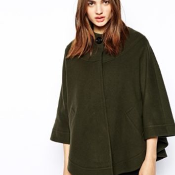 Helene Berman Collarless Cape with Concealed Button Front - Khaki gree