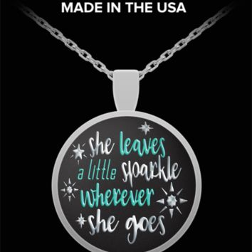 She leaves a little sparkle wherever she goes - silver pendant necklace