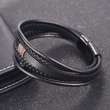 OBSEDE Men Punk Jewelry Braided Leather Bracelet Stainless Steel Magnetic Clasp Multilayer Wristband Bangles  Rope Charm Gift