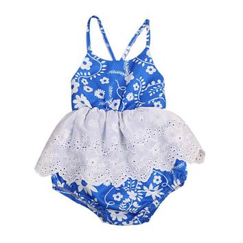 Toddler Infant Baby Girl Floral Lace Cotton Romper  new arrival fashion Jumpsuit Outfits Clothes