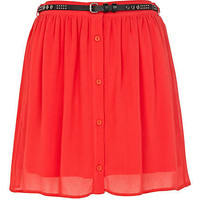 Bright red button through belted mini skirt