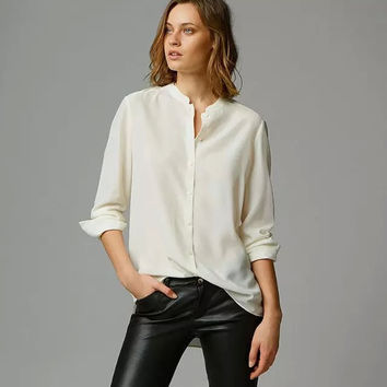Cream Mandarin Collar Long-Sleeve Button Chiffon Shirt