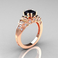1.52ctw BLACK ROUND CUT SOLITAIRE 925 STERLING SILVER ENGAGEMENT RING FOR HER