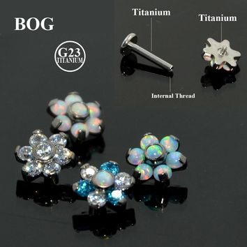 1Pcs G23 Titanium Prong Set Fire Opal Ear Tragus Cartilage Studs Helix Tragus Piercing Barbell Body Jewelry Stud Earring