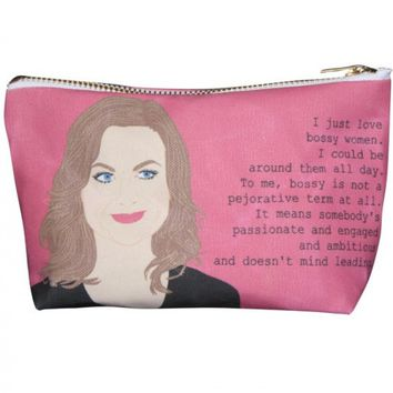 Amy Poehler Pop Zipper Pouch and Makeup Bag – Illustrated and Handmade in the USA