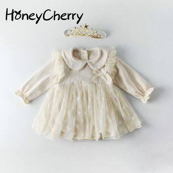 Spring Baby Bodysuits Long Sleeve Star Mesh Pure Cotton Hat-shirt Climbing Garment In 2019  Baby Girl Clothes