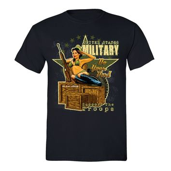 XtraFly Apparel Men's Military Support the Troops 2nd Amendment Crewneck Short Sleeve T-shirt