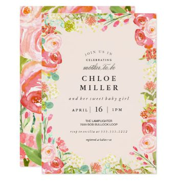 SOFT FLORAL baby shower invitation