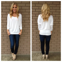 White 3/4 Sleeve Modal Top