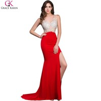 Long Mermaid Prom Dresses Grace Karin Beaded Sequin Backless Sleeveless High Slit V Neck Red Formal Gowns Sexy Party Dress Prom