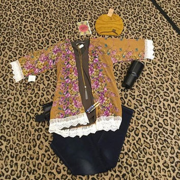 Mustard Floral women's Kimono with lace