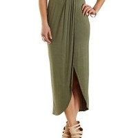 Gathered Tulip Slit Maxi Skirt by Charlotte Russe - Olive
