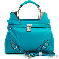 Women's Belted Satchel w/ Logo Lock & Gold Accents - Turquoise Color: Turquoise