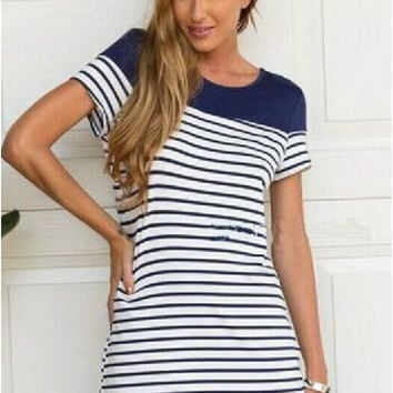 Short Sleeve Stripes Mosaic Summer Tee Striped One Piece Dress = 4806648644