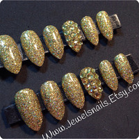 Sparkly Gold Swarovski Press on Nails False Nails Gel Nails Custom nails Fake nails Gel nail art