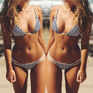 Hollow Out Stripe Bikini Swimsuit Swimwear