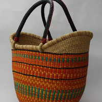 African Bolga Ushopper Tote Bag , Woven Basket, BABANS07M, Medium