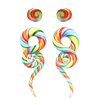 BodyJ4You Glass Gauges Kit Twisted Ear Tapers Plugs Rainbow Swirl 4G-14mm Piercing Jewelry