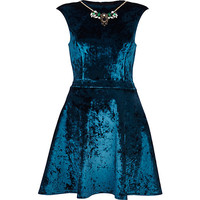 River Island Womens Blue velvet necklace prom dress