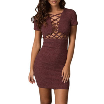New Style Black Red Criss-cross Front Bandage Party Dress Women Summer Sexy Hollow Out V Neck Bodycon Mini Dresses