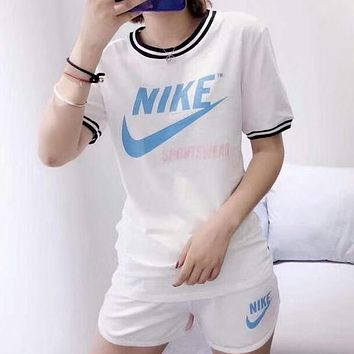 NIKE 2018 summer counter female models wild trend fashion two-piece suit F-AG-CLWM White