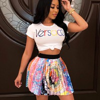 VERSACE Summer Popular Women Sexy Print Short Sleeve Top Skirt Set Two-Piece