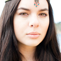 Warrior Headpiece, Chain Headpiece, Boho Headchain, Turquoise Headpiece, Hippie Headpiece
