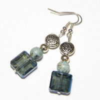 Celtic Style Earrings With Blue-Green Agate And Green Glass Beads