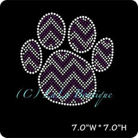 Purple chevron paw print iron on hot fix rhinestone transfers - DIY chevron paw mascot school team logo -heat - bling