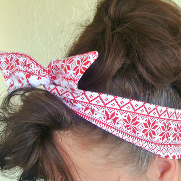 Winter Knitted Pattern Dolly Bow Wire Headband Rockabilly Pin up Hair Accessory for Girls Teens Women