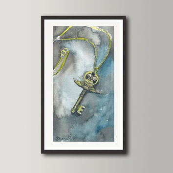 Owl Key Still life Print - Watercolor painting, Nursery wall decor,  Contemporary Modern Art Print
