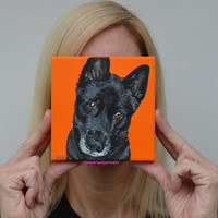 German Shepherd Black custom pet portraits