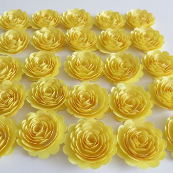 "Set of 24 Pastel Yellow Scalloped Roses, Small 1.5"" Carnations, Party Decorations"