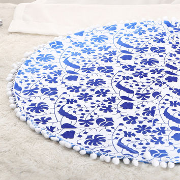 29x29inch Large Floor Pouf Pillows Indian Mandala Round Cushion Covers Plush Material Pillowcase Elephant Gradient color