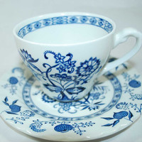 Vintage Johnson Brothers Blue Nordic Cup and Saucer - Ironstone - Made in England - Cup o' Tea - Cup of Coffee