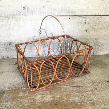 Basket Wicker and Metal Basket Rectangle Basket Rustic Basket Farmhouse Chic Basket Centerpiece Base Wicker Basket Wire Basket
