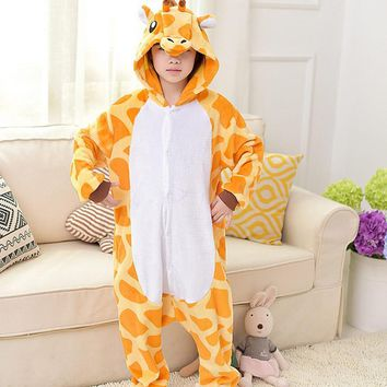 2017 Kids Giraffe Funny Onesuits Pajamas Boys Girls Cartoon Anime Cosplay Costume Hooded Pajama Giraffe Children Homewear