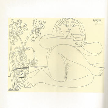 "Pablo Picasso 1972 Vintage Lithograph Signed on the Plate Entitled ""Femme Nue et Bouquet"" c. 1969 From Sari Heller Gallery -Classic Picasso!"