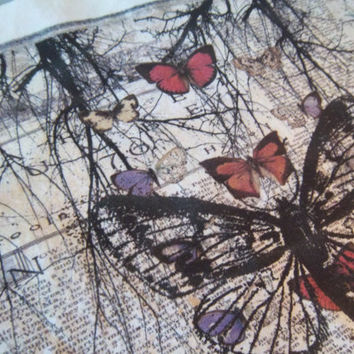 Butterfly fabric panel quilt square sew on patch handmade woodland home decor