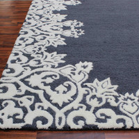 Laguna Blue White Kids 5 x 8 Floral Persian Style Wool Area Rug