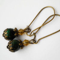 Green tiger eye dangle earrings, gemstone earrings, tiger eye jewelry, antique brass, dark green earrings, green tiger eye jewelry, crystals