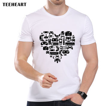 Men's Retro Love Games Print T-Shirt Cool Summer Modal  Vintage Heart Game Consoles Hipster Top Tees