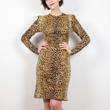Vintage 80s Norma Kamali Dress Leopard Print Avant Garde Extra Long Sleeves Bodycon Dress 1980s Animal Print Designer Mini Dress XS S Small