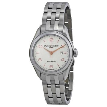 Baume and Mercier Clifton Silver Dial Stainless Steel Ladies Watch 10150