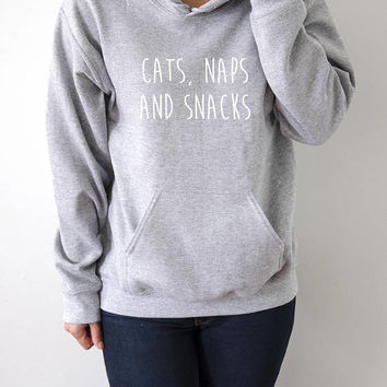 Cats Naps And Snacks Hoodies  fashion teens girls womens gifts ladies saying humor love animal bed jumper cute cat hoody meow